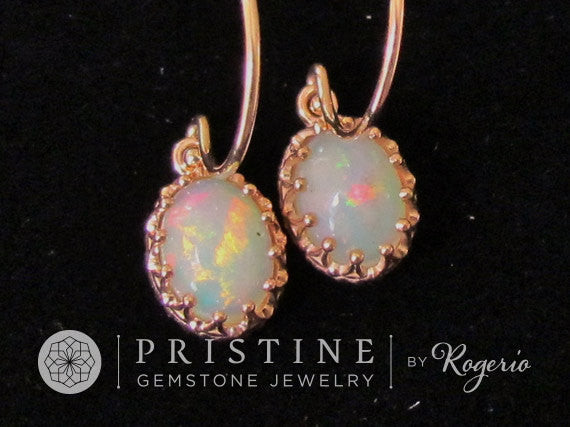 Rose Gold Opal Dangle Earrings Vintage Style October Birthstone Gemstone Jewelry