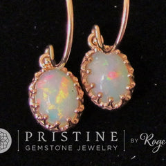 rose gold opal dangle earrings vintage design