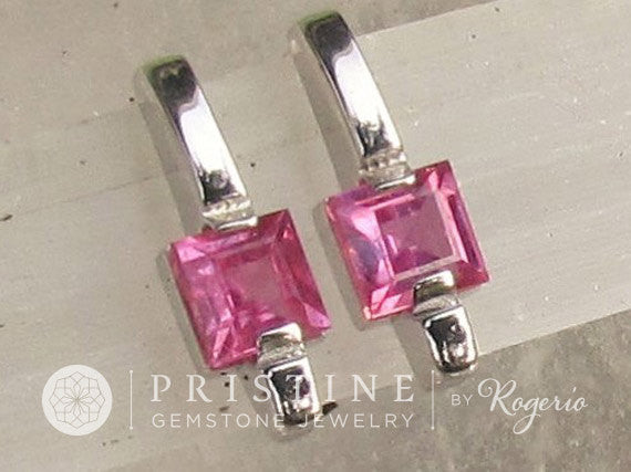 Princess Cut Genuine Pink Sapphire Earrings in 14k White Gold Drop Earrings