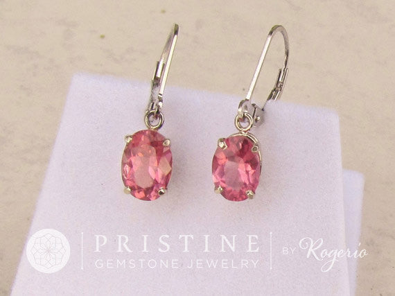 Pink Tourmaline 14k White Gold Dangle Earrings October Birthstone Gemstone Jewelry