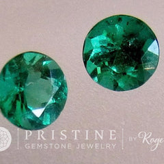 Emerald Pair Gemstones for Earrings 4.3 mm Round May Birthstone Loose Gemstones for Jewelry