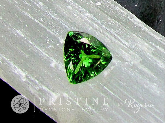 Tsavorite Garnet  Triangle Shape for Fine Engagement Ring and Fine Jewelry January Birthstone Gemstone