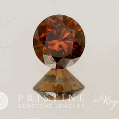 Cognac Diamond Round Shape for Gold Engagement Ring  April Birthstone