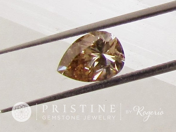 Champagne Diamond Pear Shape for Custom Engagement Ring or Fine Jewelry April Birthstone