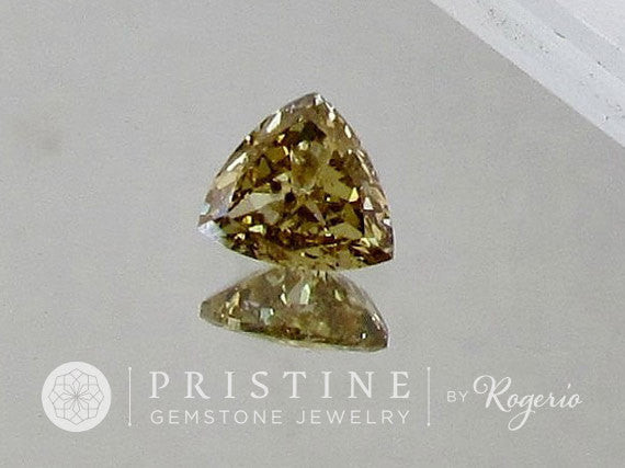 Yellow Champagne Diamond Triangle Shape  for Gold Engagement Ring  April Birthstone