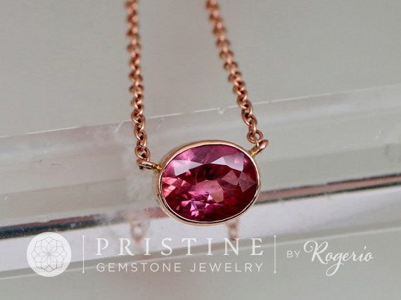 Watermelon Color Sapphire Rose Gold Layering Necklace with Cable Chain Christmas Birthday Keepsake Gift for Her