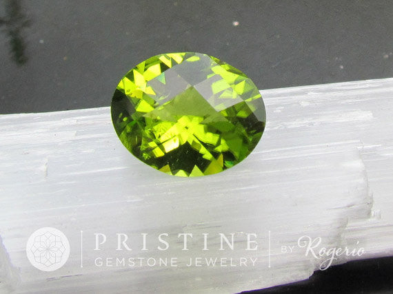 Peridot Oval Shape Checkerboard Cut for Engagement Ring August Birthstone