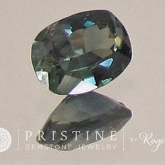 cushion blue green sapphire precision cut gemstone