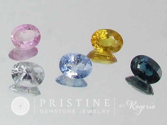 Sapphire Lot Oval Shape Loose Gemstones Over 6 Carats Pink, Blue, Yellow Sapphire September Birthstone for Gemstone Jewelry