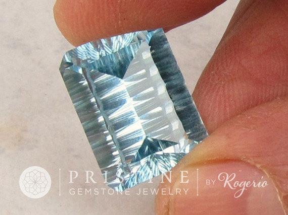 Blue Topaz Concave Cut Over 16 cts October Birthstone Gemstone for Fine Jewelry Pendant