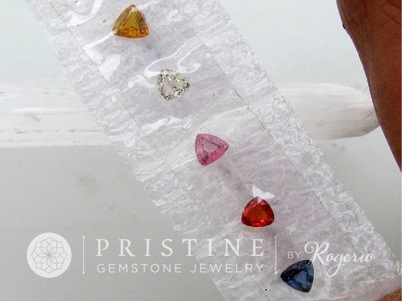 Sapphire Parcel 4 mm Triangle Shape Loose Gemstones Pink, Blue, Yellow Sapphire for Custom Jewelry
