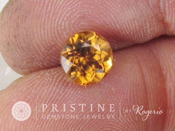 Natural Orange Zircon Round Shape Portuguese Cut Fine Gemstone for Engagement or Anniversary Ring