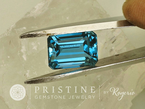 Blue Topaz Emerald Cut Shape November Birthstone for Pendant or Fine Jewelry