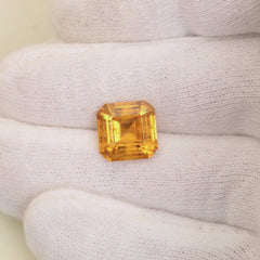 Asscher Cut Hydrothermal Yellow Sapphire Over 6 Carats