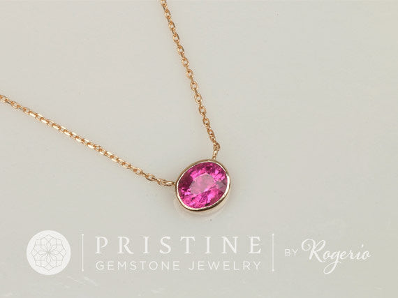 Purple Pink Fuschia Tourmaline 14k Gold Bezel Set Layering Necklace