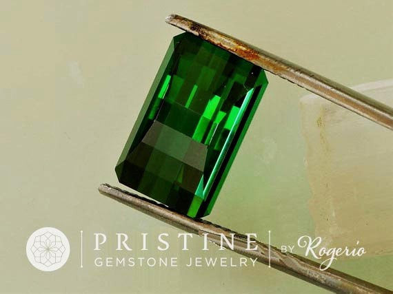Green Tourmaline Opposite Bar Cut Loose Gemstone Over 8 Carats for Jewelry
