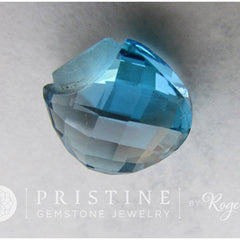Blue Topaz Briolette for Pendant November Birthstone Gemstone for Jewelry