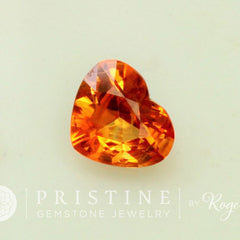 large heart shape orange sapphire