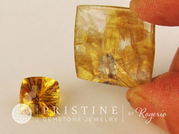 Star Rutilated Quartz  Collector Piece and Citrine for Unique Pendant