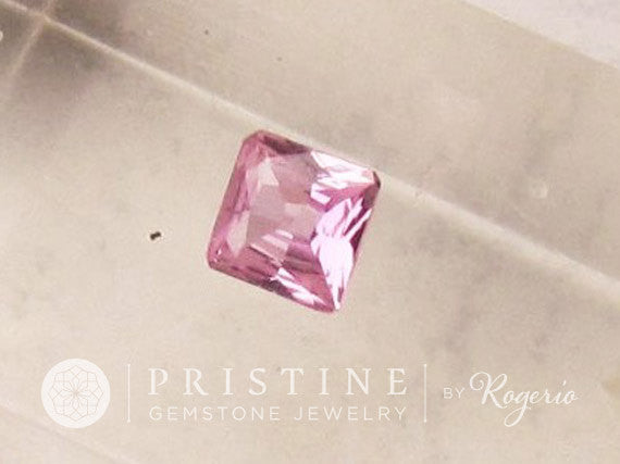 Pink Sapphire Square Shape for Jewelry September Birthstone