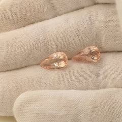 Peach Pink Morganite Pear Shape Matching Pair Over 4 Carats Fine Loose Natural Gemstone for 14k Gold Earrings