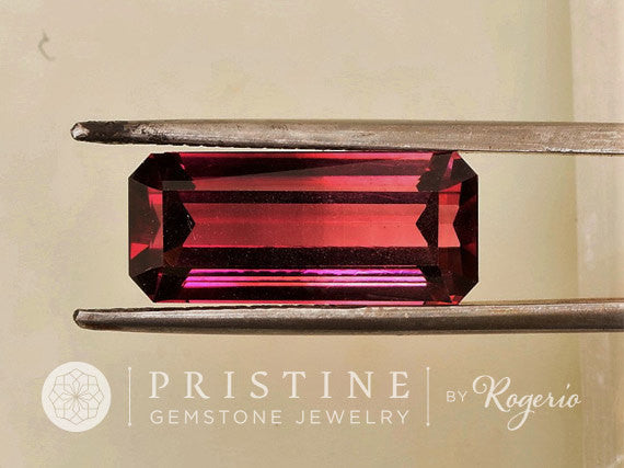 Pink Tourmaline Emerald Cut Over 9 Carats October Birthstone for Pendant