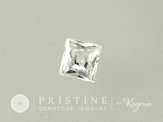Princess cut white sapphire for engagement