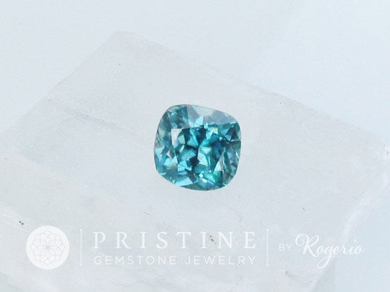Cushion blue zircon precision cut