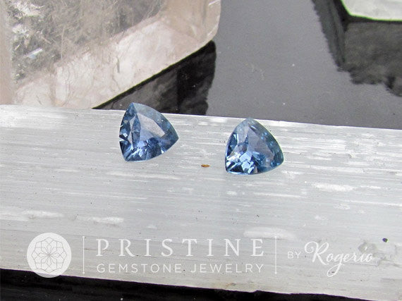 Blue Sapphire Pair Triangle Shape Trillion Cut for Fine Gemstone Earrings September Birthstone