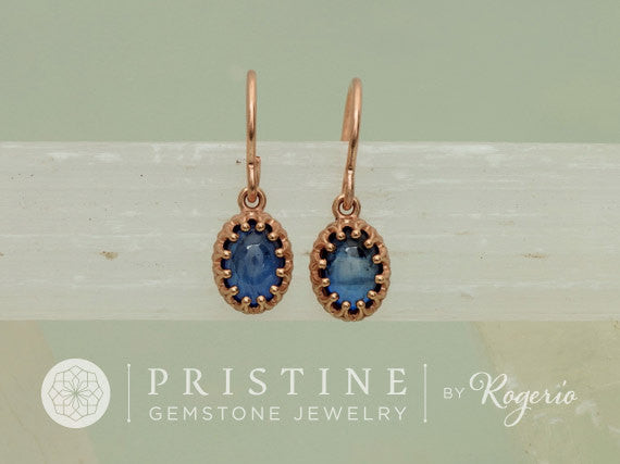 Rose Gold Blue Sapphire Vintage Style Earrings Cabochon Dangle Earrings