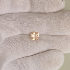 Natural Peach Champagne Color Sapphire 6.9mm Cushion Shape for Engagement Ring or Wedding Anniversary