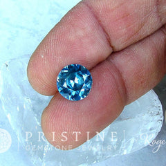 Blue Zircon 9.5 MM Brilliant Cut Round Shape Natural Gemstone December Birthstone Loose Gemstone for Pendant or Statement Ring