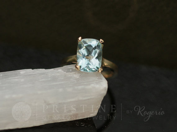 Aquamarine Solitaire Gold Ring, March Birthstone Gemstone Ring
