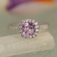 pink sapphire diamond halo engagement ring wedding ring bridal ring