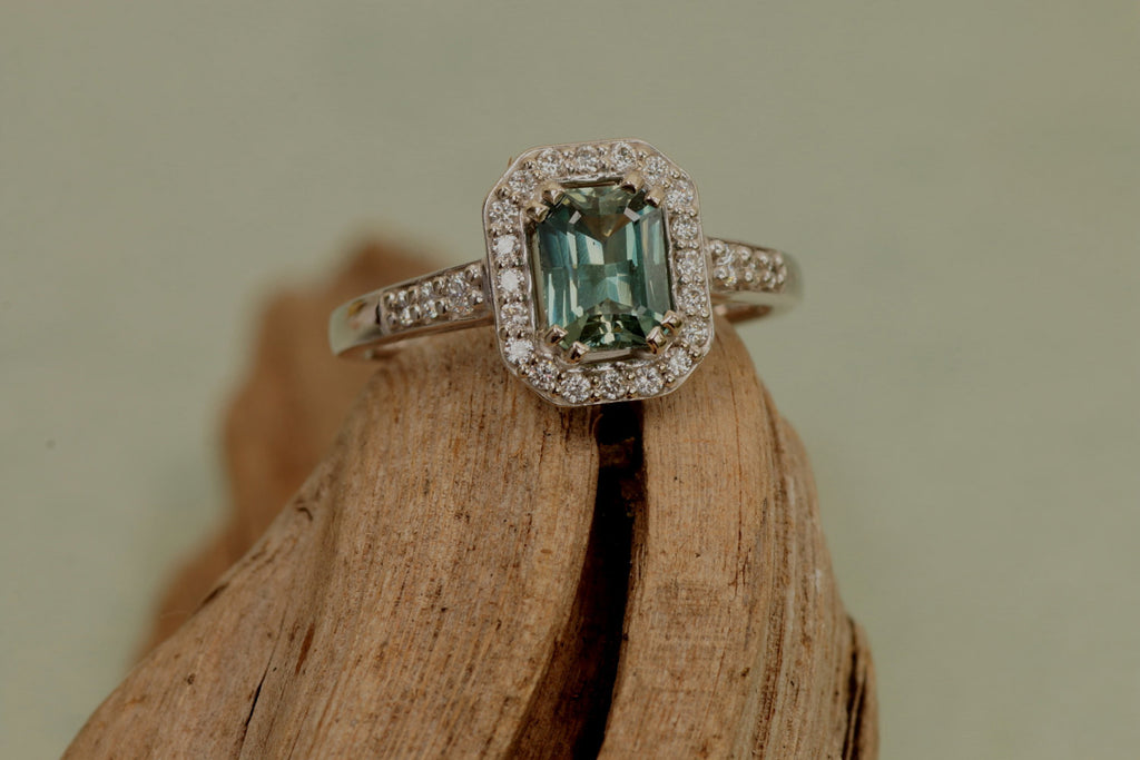 ring engagement blue cushion rings green gold rose sapphire teal halo media