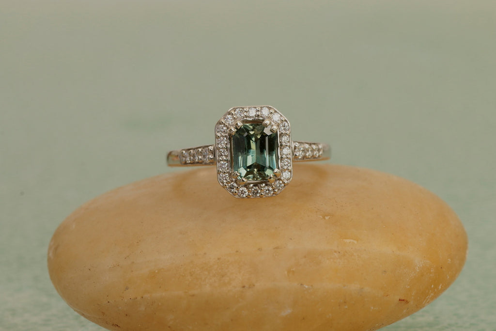 rose by il gold halo engagement listing green diamond blue fullxfull cushion eidelprecious sapphire ring peacock rings