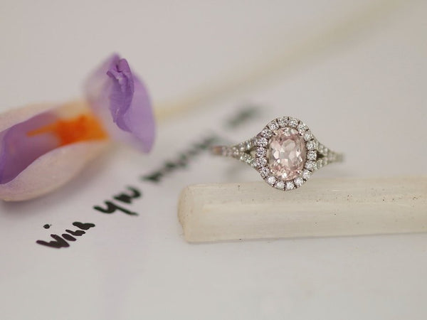 Pink Champagne Sapphire Split Shank Diamond Halo Engagement Ring