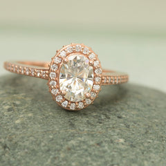 charles and colvard moissanite rose gold ring