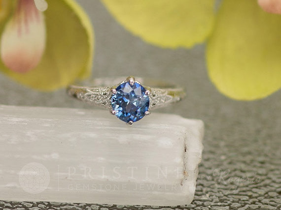 Blue Sapphire Engagement Ring Diamond Accented Art Deco Gemstone Engagement Ring Wedding Ring Anniversary Ring
