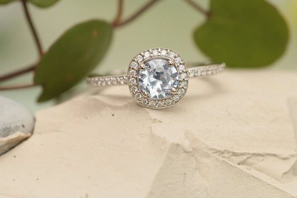 RESERVED Payment 1 of 3 for Ice Blue Sapphire Diamond Halo Engagement Ring