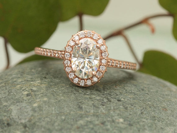 Moissanite Rose Gold Engagement Ring in Diamond Halo ON SALE!