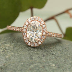 Moissanite rose gold ring in diamond halo wedding ring