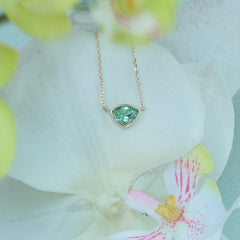 yellow gold with green tourmaline necklace