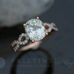 Infinity Rose Gold Engagement Ring with Mint Green Sapphire