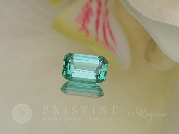Paraiba Type Tourmaline Emerald Cut from Mozambique Blue Green Tourmaline Loose Faceted Gemstone for Custom Jewelry