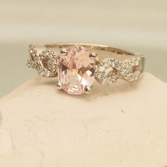 pink peach sapphire infinity ring wedding ring or bridal ring
