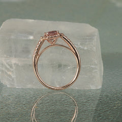 Natural peach spinel rose gold engagement ring