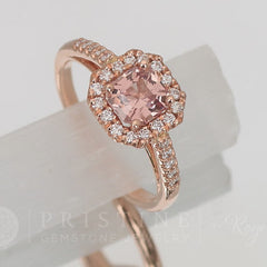 rose gold diamond halo peach spinel ring wedding ring