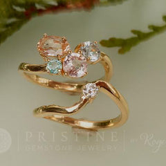 peach sapphire cluster engagement ring