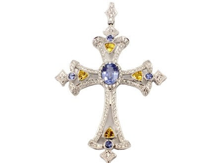 Deposit on Custom 14k White Gold and Sapphire Cross Pendant